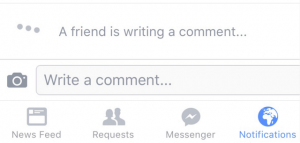 Facebook animatie scris comentarii