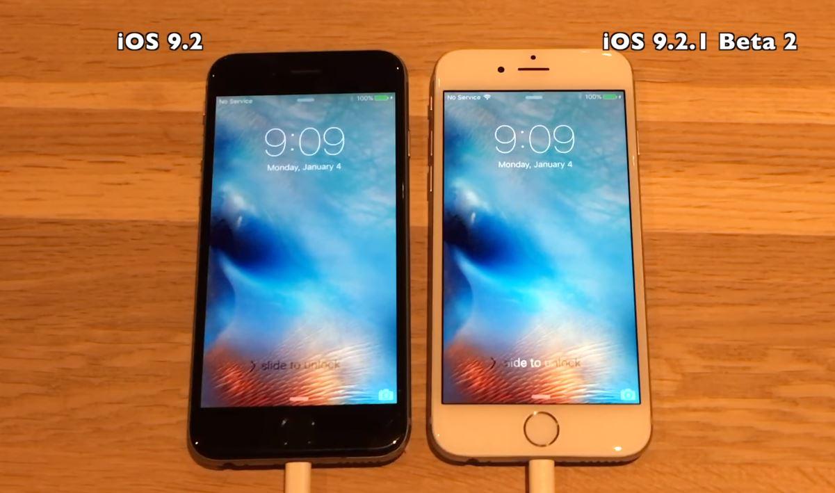 iOS 9.2 vs iOS 9.2.1 public beta 2 performante