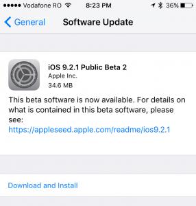 iOS 9.2.1 public beta 2