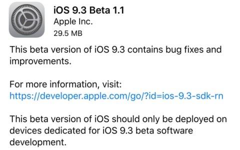 iOS 9.3 beta 1.1