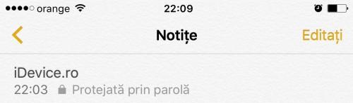 iOS 9.3 protejare parola notite 3