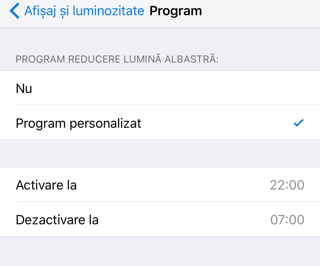 iOS 9.3 reducere lumina albastra