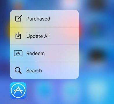 scurtaturi 3D Touch App Store