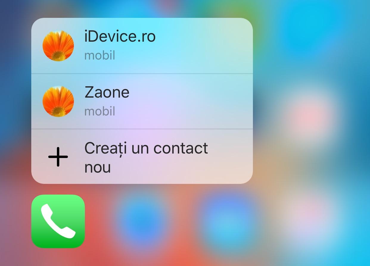 scurtaturi apelare contacte 3D Touch