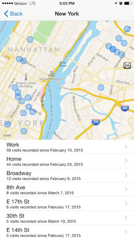 vezi locurile prin care ai fost iphone