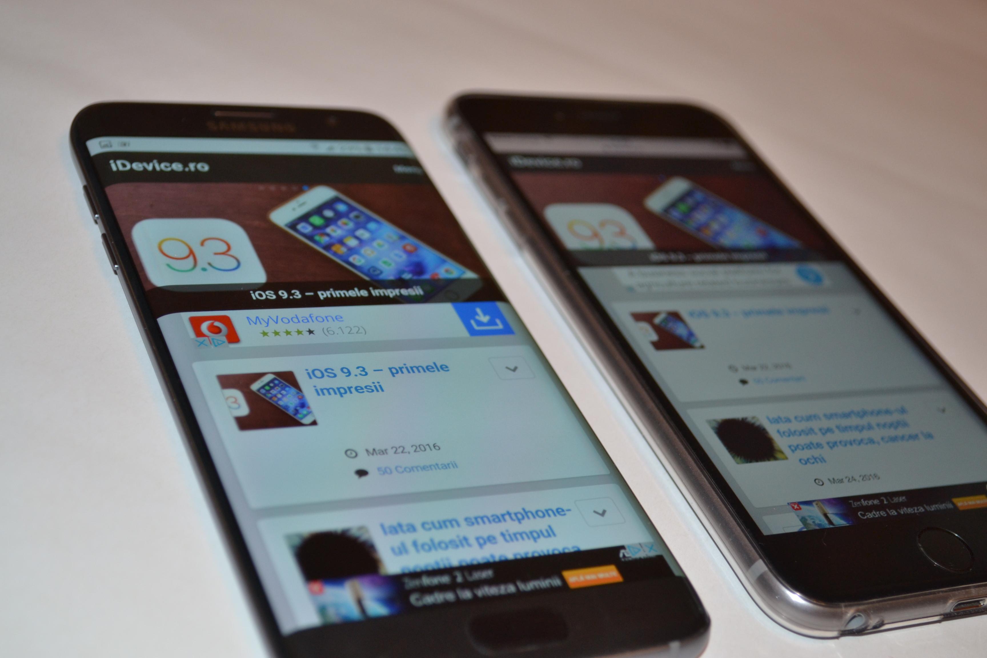 Galaxy S7 Edge vs iPhone 6S Plus performante iDevice.ro