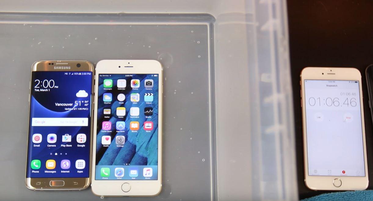 Galaxy S7 vs iPhone 6S - testul rezistentei la apa - iDevice.ro