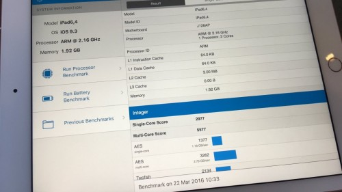 iPad Pro 9.7 inch frecventa procesor 2 GB RAM
