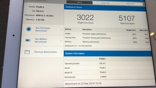 iPad Pro 9.7 rezultate performanta