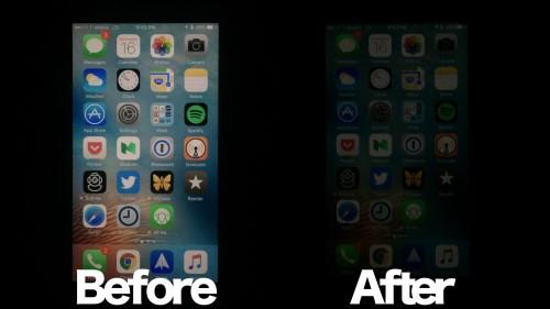 reducere lumina ecran iOS