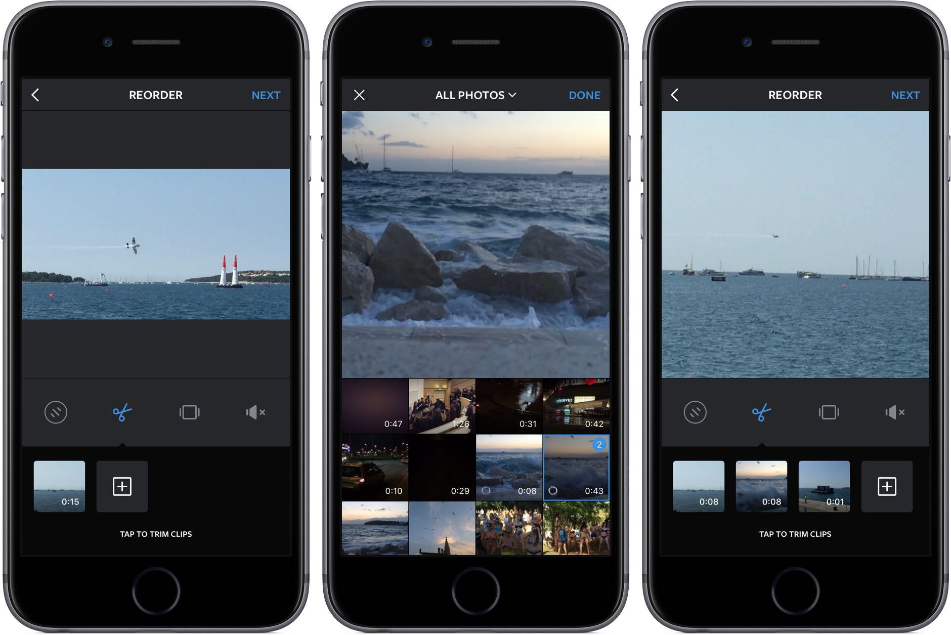 Instagram combinare clipuri video