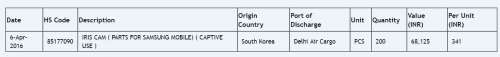 Samsung Galaxy Note 6 iris scanner