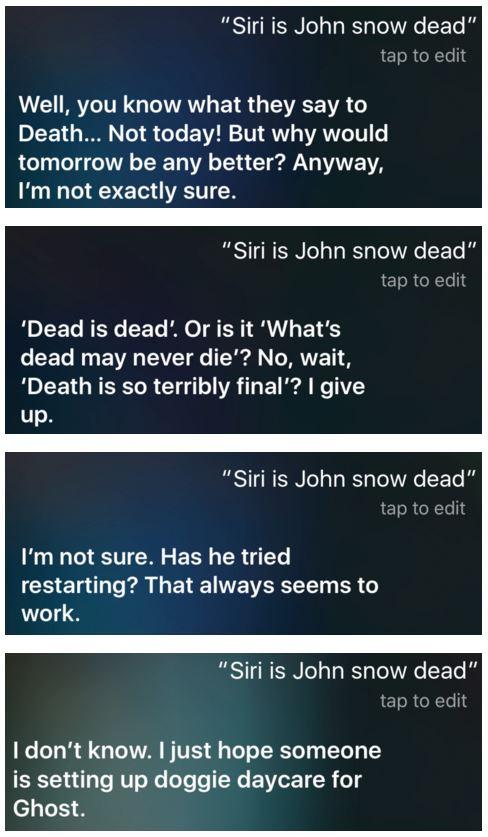 Siri Jon Snow mort