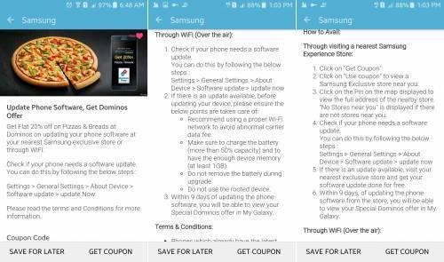Samsung pizza actualizare Android