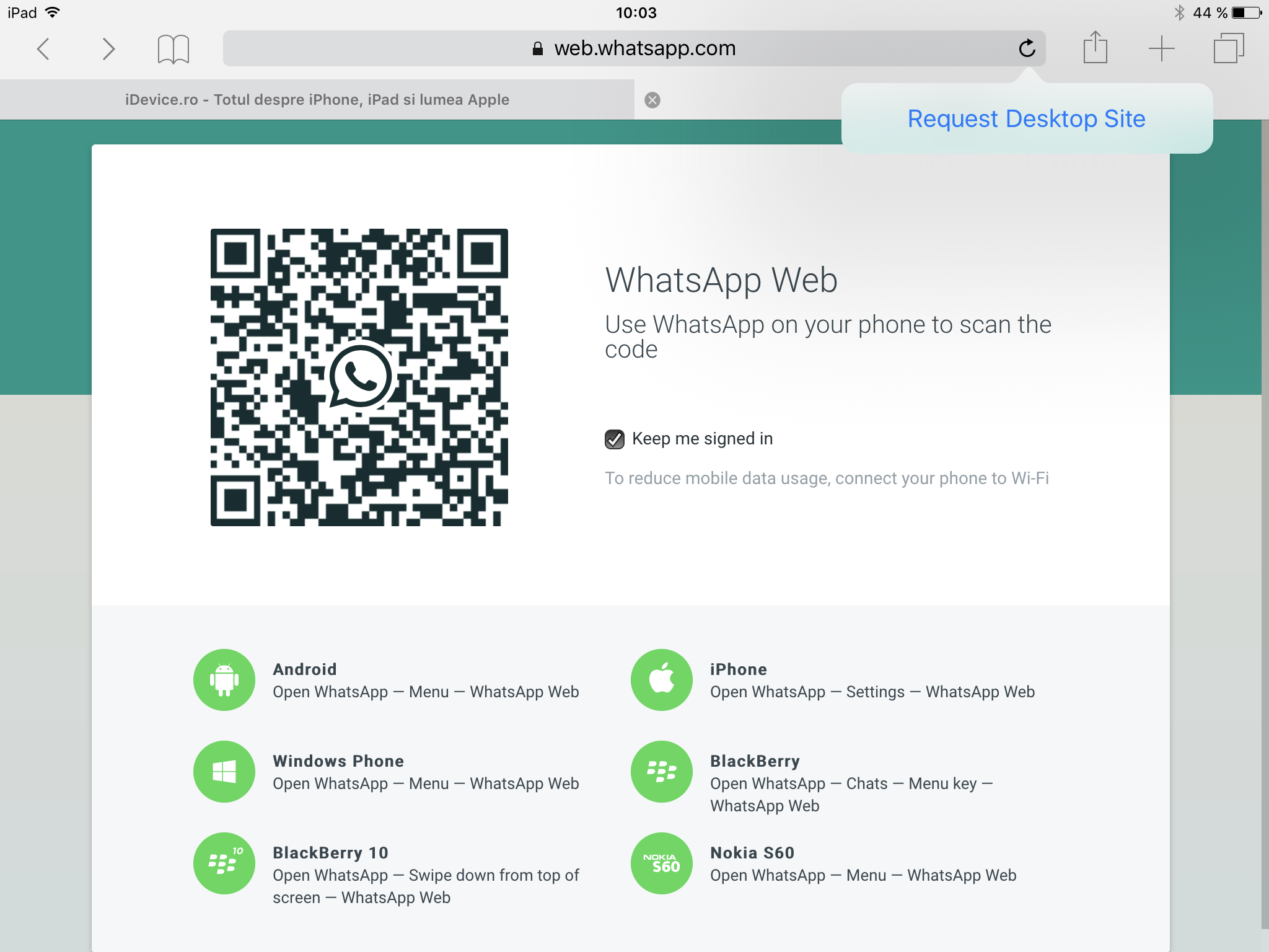 WhatsApp Messenger tableta