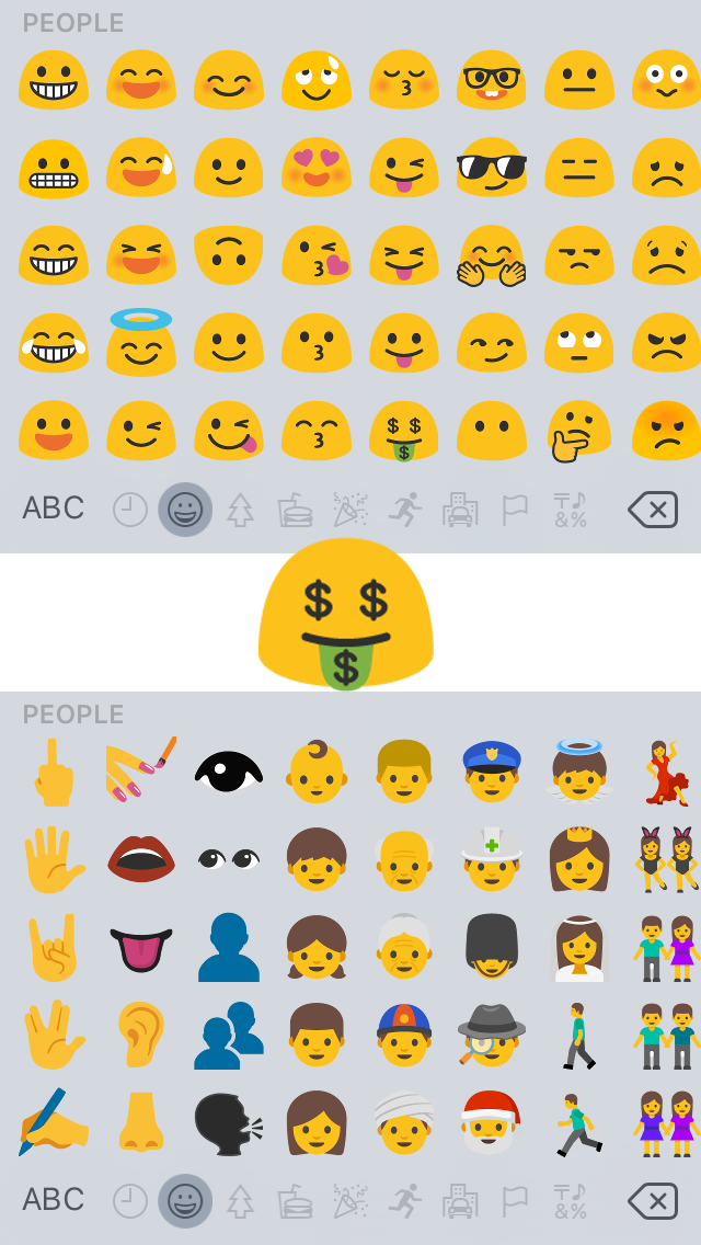 emoji Android N iPhone