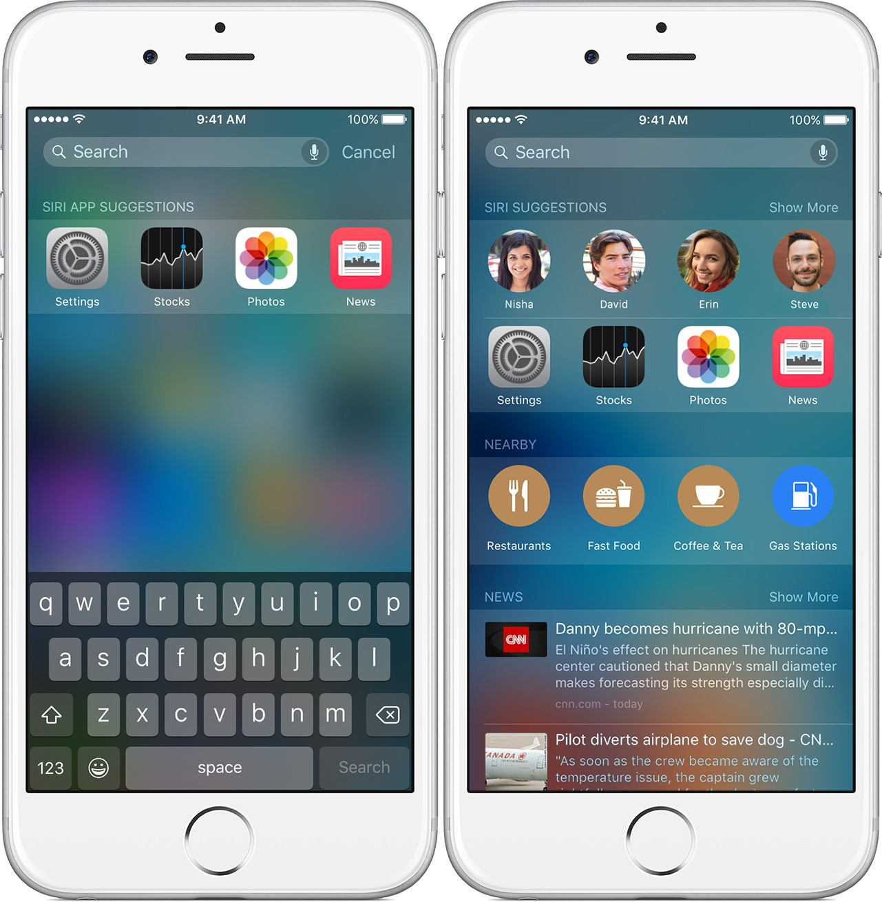 iOS 9 cautari Spotlight