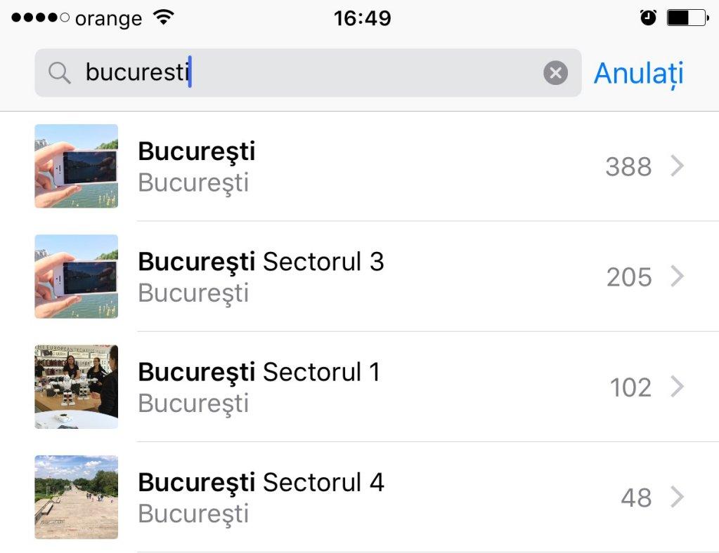 iOS 10 Poze cautari