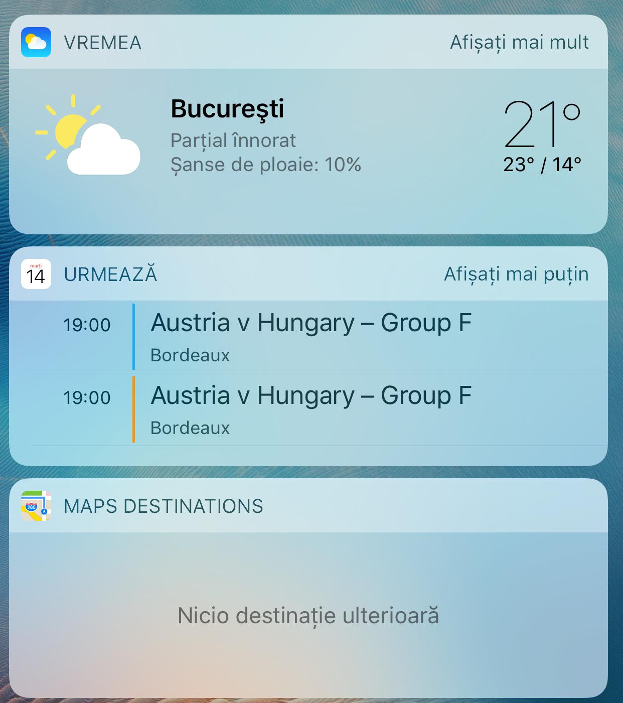 iOS 10 Vreme widget