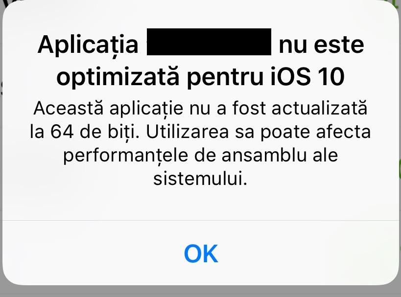 iOS 10 avertisment aplicatii