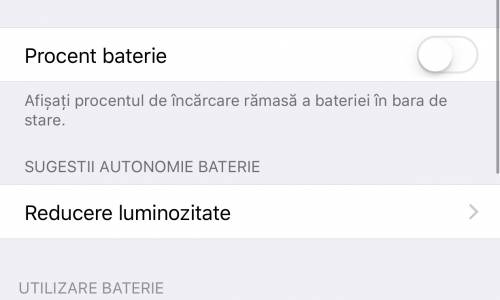 sugestii autonomie baterie iOS 10