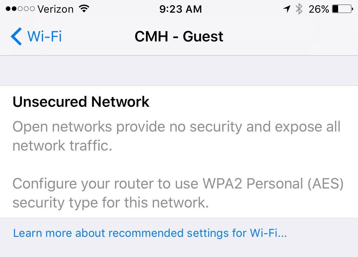 iOS 10 avertisment Wi-Fi