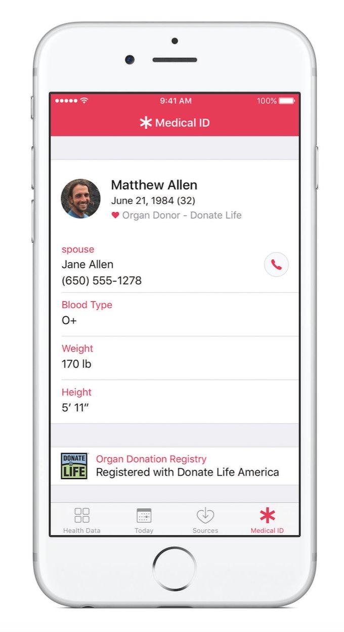 iOS 10 donare organe