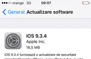 actualizare software iOS 9.3.4