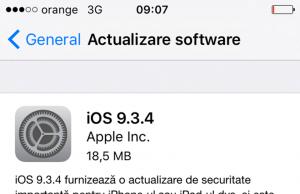 actualizare software iOS 9.3.4