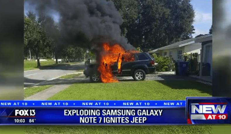 galaxy note 7 arde masina