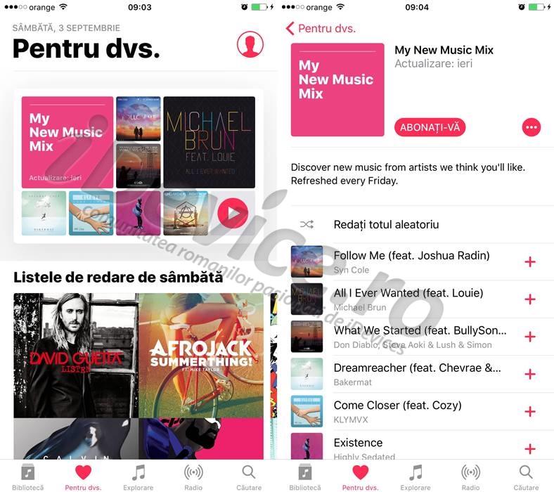 ios 10 apple music afiseaza recomandari personalizate pentru muzica