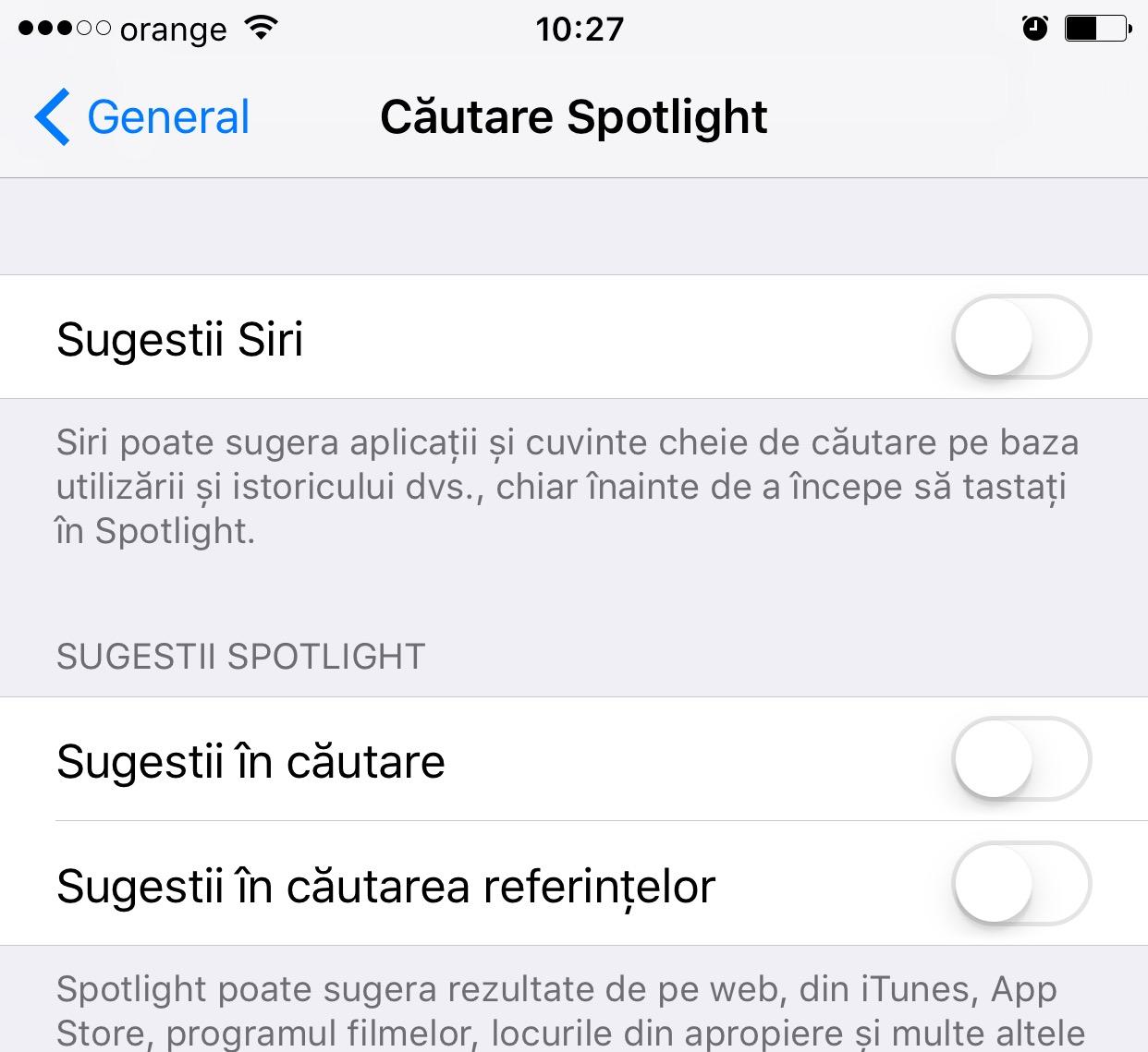 ios 10 dezactivare spotlight