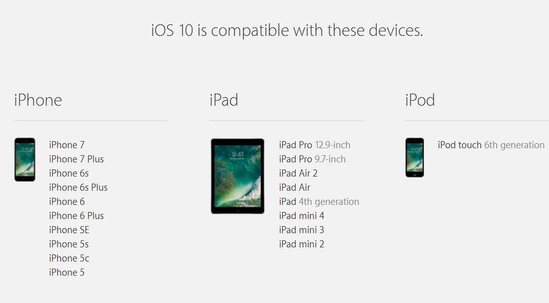 ios 10 iphone ipad compatibile