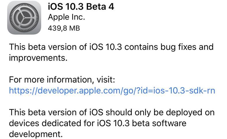 ios 10.3 beta 4