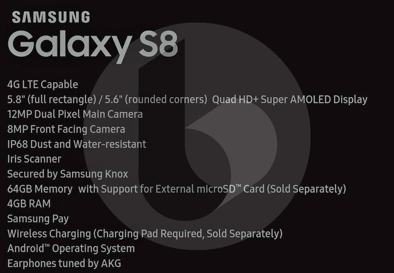 samsung galaxy s8 specificatii tehnice confirmate
