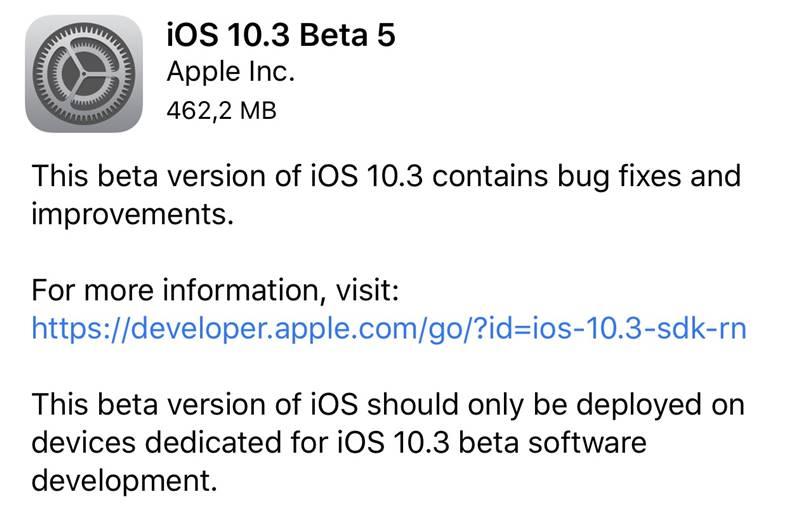 ios 10.3 beta 5