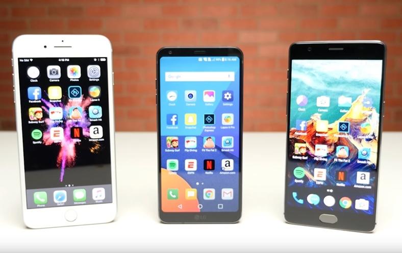 lg g6 iphone 7 plus oneplus 3t performante