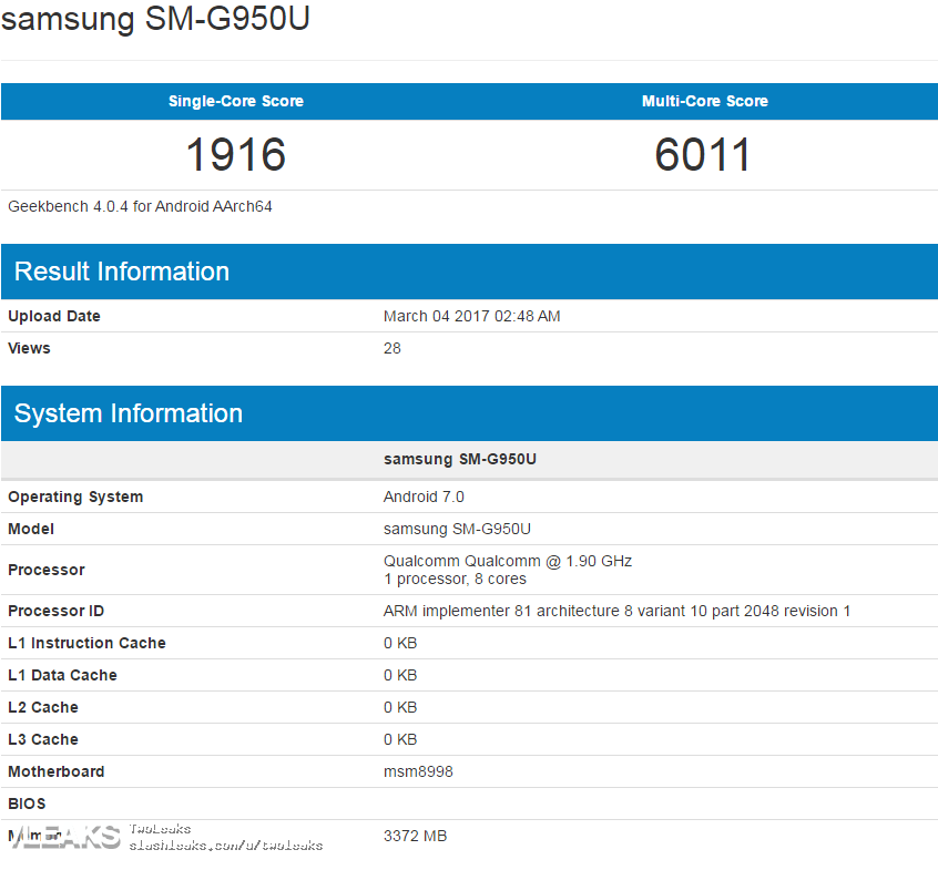 samsung galaxy s8 performante geekbench