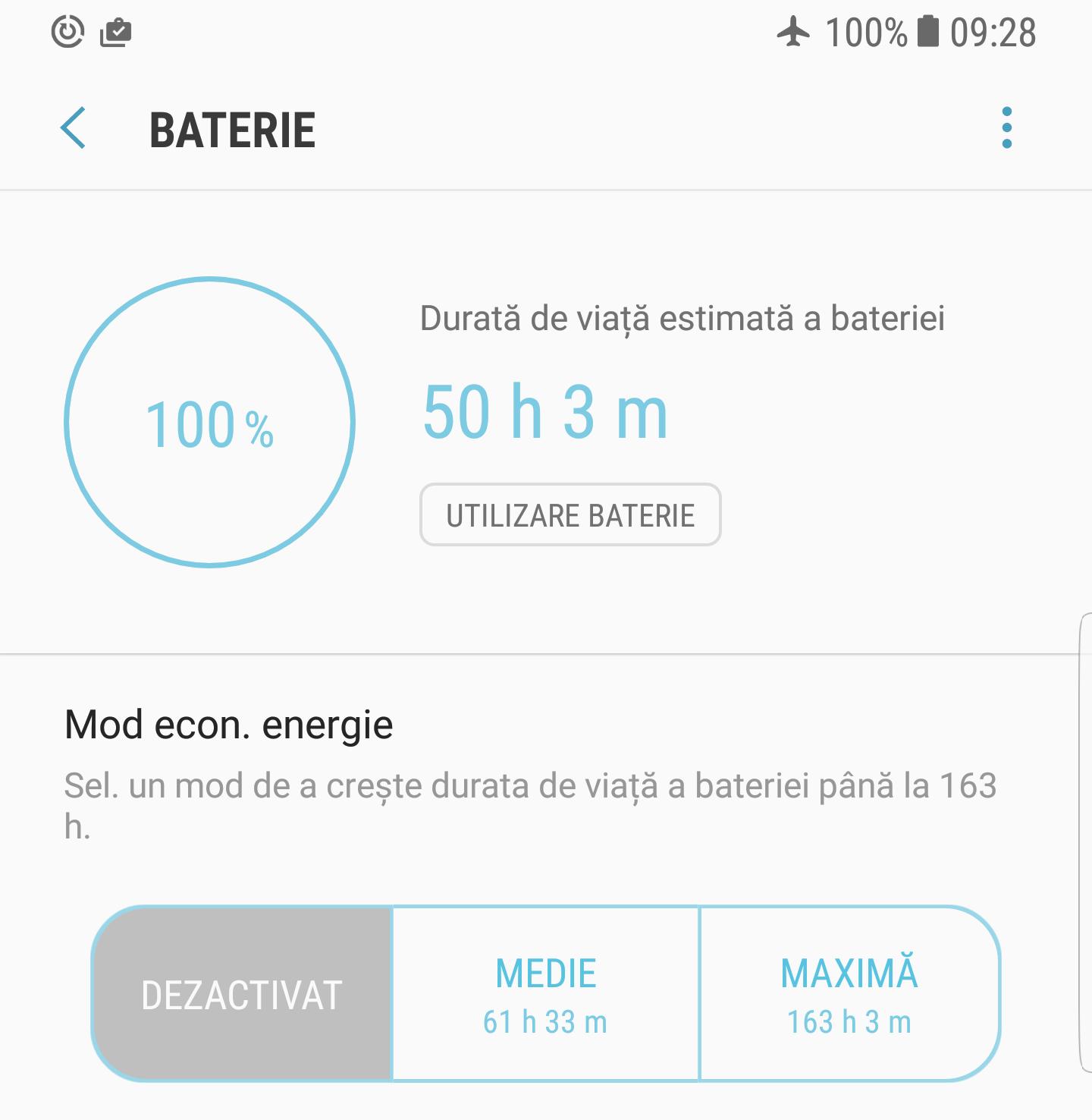 Samsung Galaxy S8 Plus baterie energie