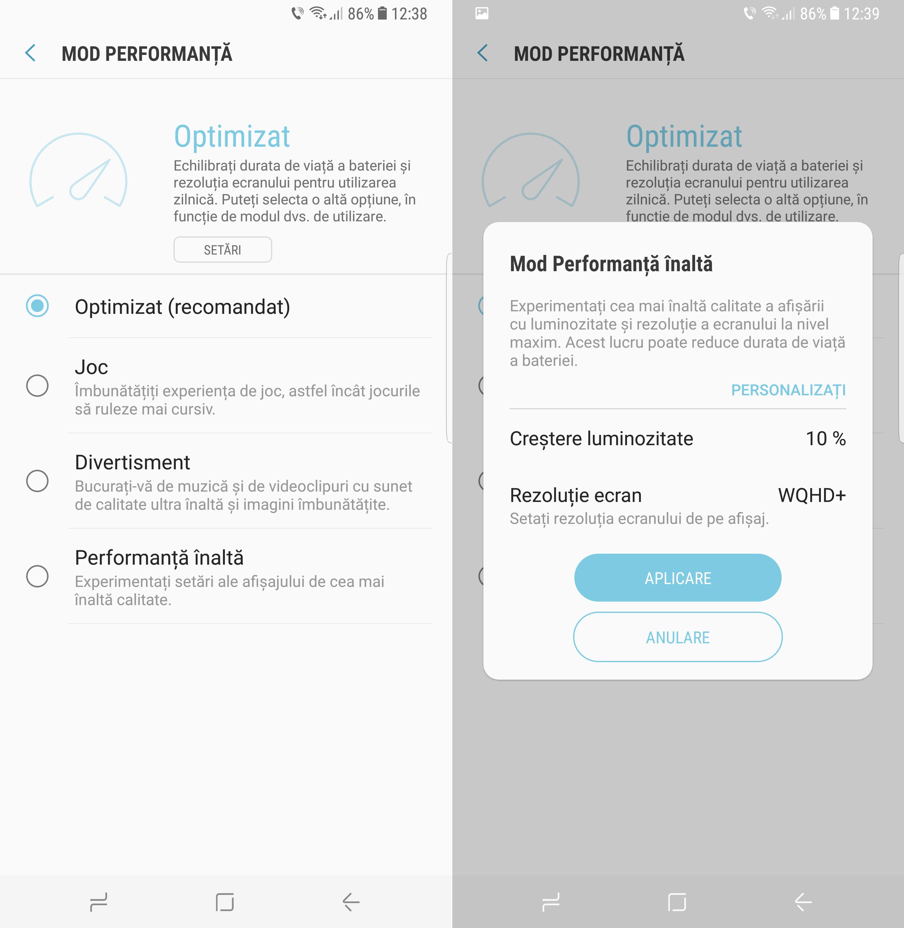 Samsung Galaxy S8 Plus moduri performanta