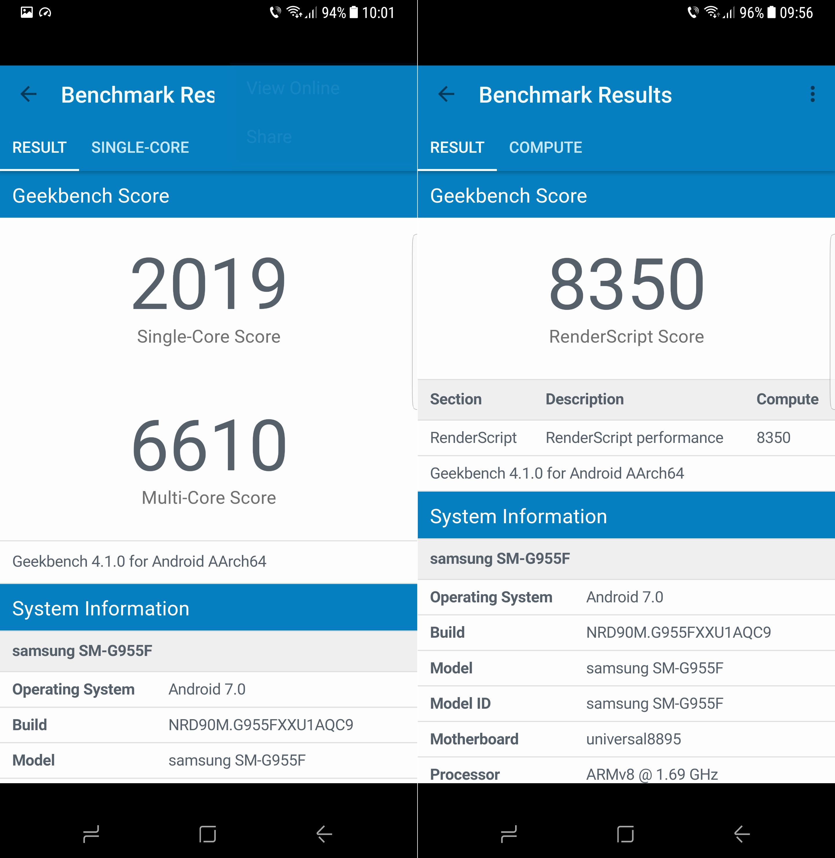 Samsung Galaxy S8 Plus performante geekbench