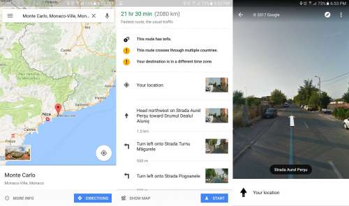 Google Maps Street View navigare