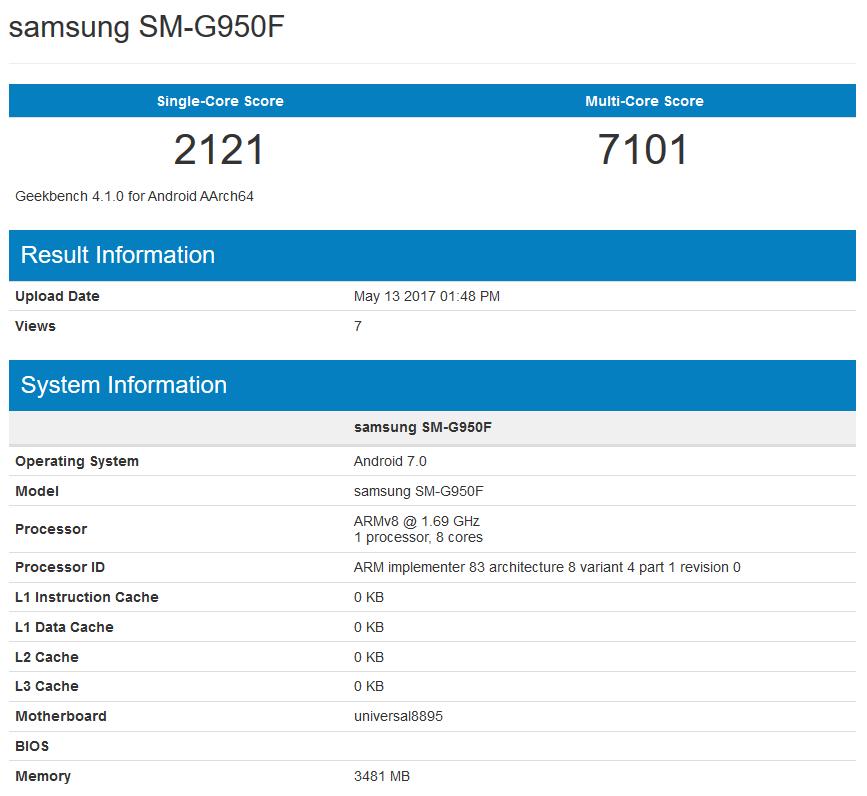 Samsung Galaxy S8 geekbench 7000 puncte