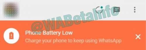 WhatsApp alerta baterie