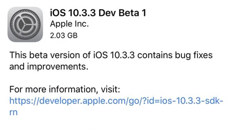 iOS 10.3.3 beta 1
