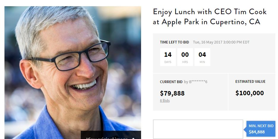 tim cook licitatie cina apple park
