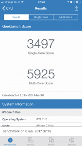 iOS 11 benchmark iPhone 7 Plus