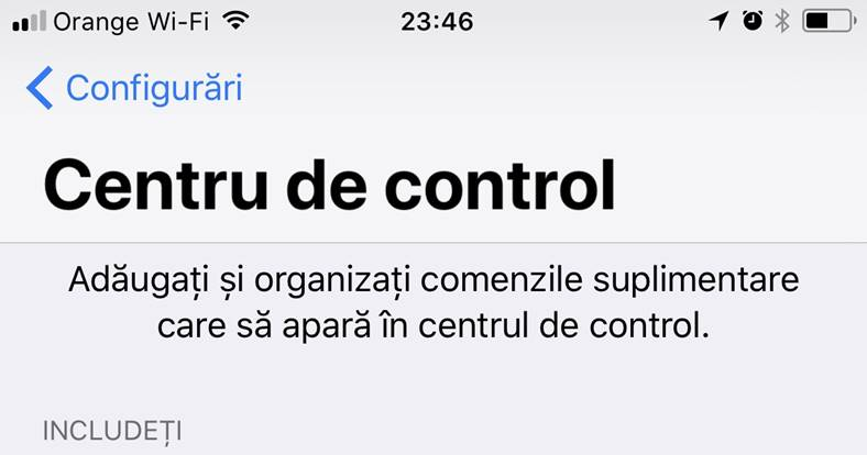 iOS 11 control center dezactivare toggle