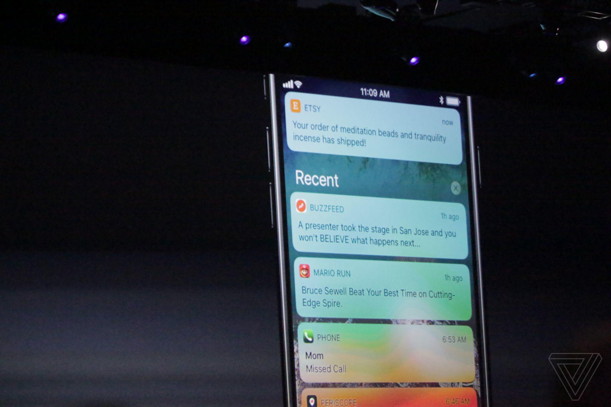 iOS 11 lockscreen notifications center