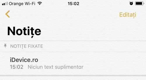 iOS 11 notite setare primele